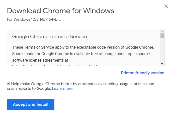 Accept and Install Google Chrome Browser